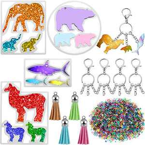 4 Pieces Animal Resin Silicone Mold with Hole DIY Animal Keychain Epoxy Casting Mold Pendant Mold in Llama, Shark, Bear, Elephant Shape with Blank Keychains, Letters, Tassels for DIY Keychain Pendant