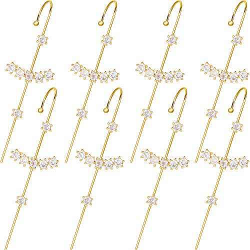 8 Pieces Ear Cuff Wrap Crawler Hook Earrings Gold Cubic Zirconia Rhinestone Hoop Earrings for Women, 4 Pairs