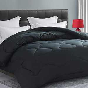 Elemuse Cal King Soft&Fluffy Down Alternative Comforter All Season Grey Quilted Duvet Insert with Corner Tabs
