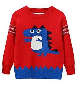 Little Boy Girl Sweater Knite Pullover Cute Cartoon Red Animal Crocodile Sweatshirts Size 6