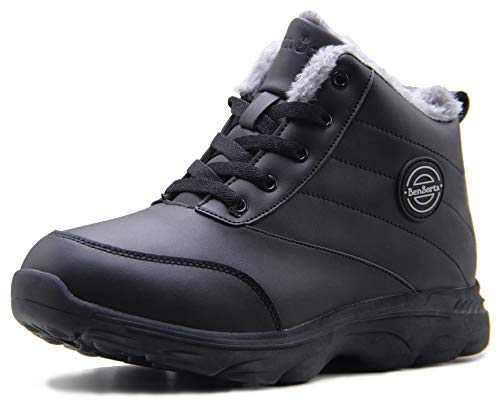 BenSorts Winter Boots for Womens Fur Lined Anti-Slip Snow Booties Warm Outdoor Ankle Boots Black Leather Size 9.5