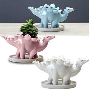 Succulent Ceramic Dinosaur Planter Pots, 7 Inch Height Animal Plant Pots with Drainage Hole Drainage Dish for Thanksgiving Day Gift Idea Home Office Garden Decoration