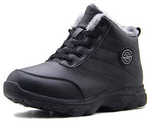 BenSorts Womens Snow Boots Fur Lined Anti-Slip Warm Winter Boots Outdoor Ankle Booties Black Leather Size 8