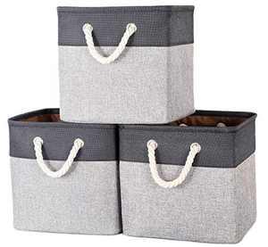 AUGSMIAR Foldable Storage Cubes, 13 x 13 x 12.75'' Collapsible Storage Bins, Linen Cotton & TC Fabric, for Shelf Closet Cabinet Nursery Home Office Organizing - (3 Pack, Grey & Black)