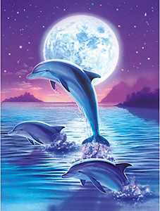 Minone Dolphin Diamond Art Kits for Adults Kids, DIY 5D Painting with Diamonds Full Drill Round Crystal Rhinestone Embroidery Picture by Number Kit Craft for Home Wall Decoration, 30x40cm