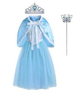 Princess Costume for Girls Birthday Dress up Queen Costume Cosplay Dress Up with Accessories 7-8 Years Blue