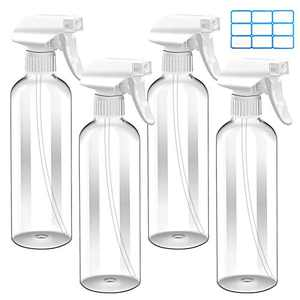 Cleaning Spray Bottle 16oz 4 Pack Empty Plastic Spray Bottles for Cleaning Solutions Alcohol Hair Plants Bleach with Adjustable Nozzle