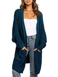 UEU Women's Long Batwing Sleeve Open Front Chunky Knit Cardigan Sweater with Pockets (Teal, M)