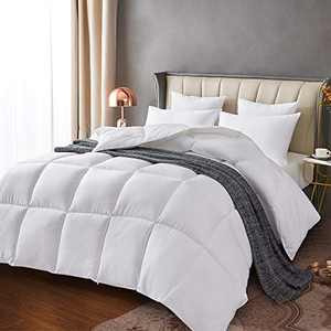 Leeden White Down Alternative Comforter King All Season Quilted Bed Comforter Lightweight Duvet Insert with Corner Tabs for Winter Hypoallergenic Soft and Machine Washable (King White)