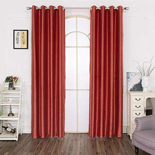 Curtains 108 Inch Length 2 Panels, Soft Thermal Insulated Blackout Curtains and Velvet Darkening Satin Curtains for Bedroom, Living Room, with Grommet (Red, 55X108 inch)