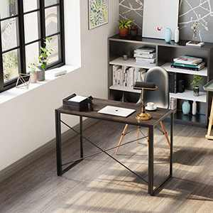 Home Office Computer Writing Desk, [15S Easy Assembly] Modern Industrial Sturdy Computer Study Desk with a Hook, Foldable Metal Frame, Portable Folding Table for Small Spaces, 39 Inch