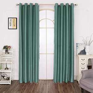 GULI Blackout Velvet Curtains, Room Darkening Curtains Panels  for Living Room, Super Soft Window Curtains with Grommet Thermal Insulated Drapes for Bedroom Set of 2 (Green, 55X102 inch)