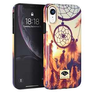 NIAFEYA for iPhone XR 6.1 Inches Defender Case Heavy Duty Cute Flower Floral Pattern for Women Girls Shockproof Anti-Scratch Hard PC Soft Silicone Rubber Slim Protective Cover (Dreamcatcher)