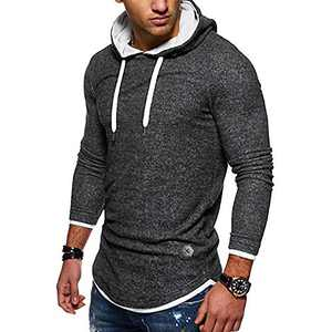 Rela Bota Mens Fashion Hoodies Pullover Sweatshirts- Casual Athletic Long Sleeve Solid Color Shirts Black