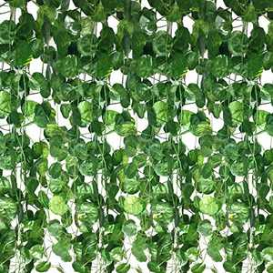 Guagb 12 Strands Artificial Vines - Fake Ivy Silk Leaves - Faux Green Garland Hanging Vine for Room Wall Kitchen Office Garden Home Wedding Party Decor