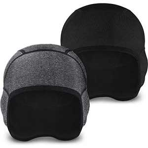 Syhood 2 Pieces Skull Cap Helmet Liner Winter Thermal Running Beanie with Ear Cover Cycling Cap for Men and Women (Black, Dark Gray)