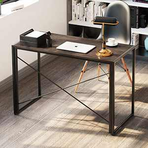 Home Office Computer Writing Desk, [15S Easy Assembly] Modern Industrial Sturdy Computer Study Desk with a Hook, Foldable Metal Frame, Portable Folding Table for Small Spaces, 47 Inch