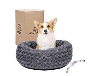 Gohoo Pet Calming Dog Bed, Comfortable Donut Dog Bed Washable, Faux Fur Fluffy Round Dog Bed for Puppy Small Medium Dogs Clearance Includes Random Rope Toy (Grey)