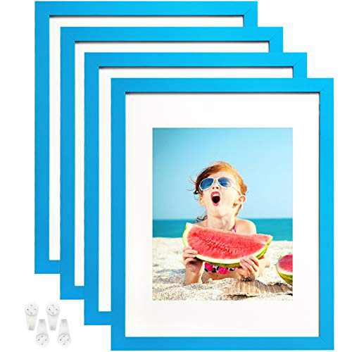 BAIJIALI 11x14 Picture Frame Set of 4,Made of Tempered Glass for 3 Displays - 8x10 Picture or Four 4x6 Photos with Mat, 11x14 Without Mat ,Wall Mounting Photo Frame Blue