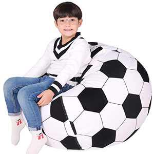 ABFace Stuffed Animal Storage Bean Bag Chair Cover for Kids, Teens and Adults, Extra Large Storage Bag with Zipper for Organizing Children Plush Toys (Cover ONLY) X-Large, Football