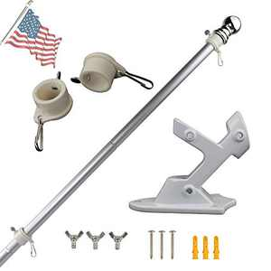 VIEKEY 6FT Flag Pole kit Come with Flag Pole Holder and 2 Rotating flagpole Rings rustproof Aluminum flagpole kit Display You Favorite Flag for Outdoor Patio Garden Commercial Porch and Courtyard
