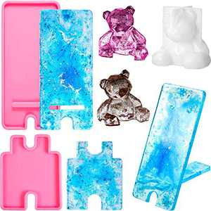 2 Pieces Mobile Phone Stand Silicone Molds Phone Holder Resin Mold and Three-Dimensional Bear Epoxy Resin Moulds Bear Shape Casting Holder Mold Cellphone Bracket Molds for DIY Crafts (Pink)
