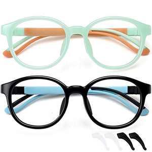 Kids Blue Light Blocking Glasses for Boys Girls Computer Glasses Gaming Screen Glasses Glasses Frame Anti Eyestrain 2 Pack Children Age 4 to 10 (Black+Light Green)