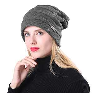 KPWIN Winter Hats for Women Fleece Lined Oversized Cable Knit Slouchy Beanie Skull Cap Deep Grey