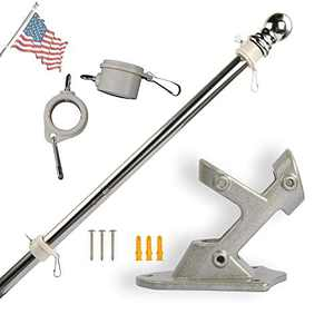 6FT Flag pole kit come with flag pole holder and 2 rotating flagpole rings rustproof stainless steel flagpole kit display you favorite flag for outdoor patio garden Commercial porch and courtyard