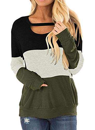 DKKK Tunic Shirts for Women Long Sleeve Round Neck T Shirt Ladies Casual Tops Loose Fit Draped Comfortable Button Details Womens Clothing Blouse Black Grey Green M