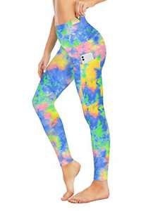 Seyorz High Waisted Yoga Pants with 4 Pockets for Women, Tie Dye Camo Printed Yoga Pants Tummy Control (Green, Large)