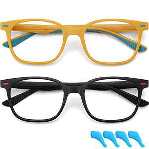 Kids Blue Light Blocking Glasses for Boys Girls Computer Glasses Gaming Screen Glasses Fake Glasses Frame Anti Eyestrain 2 Pack Children Age 4 to 10 (Black+Yellow)