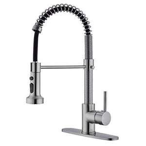 EKRTE Kitchen Faucet, Brushed Nickel Kitchen Faucet with Sprayer, Single Handle High Arc Pull Down Kitchen Faucet, 1 or 3 Hole Commercial Kitchen Faucet with Deck Plate