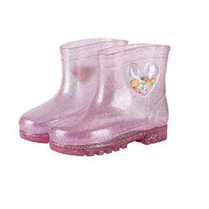 Uzsoeey Kids Rain Boots - Toddler Glitter Light Up Rain Boots Waterproof Shoes Lightweight Easy On, Pink, 7 Toddler