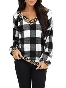 AMCLOS Womens Check Christmas Tops Casual Xmas Shirt Tunic Leopard Long Sleeve (Black,XL)