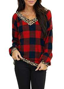 AMCLOS Womens Check Christmas Tops Casual Xmas Shirt Tunic Leopard Long Sleeve (Red,XL)