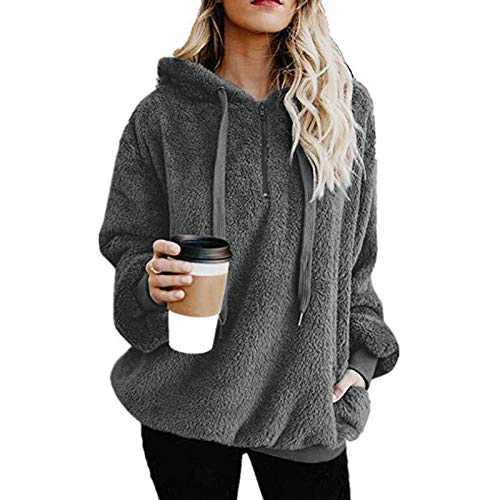 TOPIA STAR Womens Oversized Sherpa Pullover Hoodie with Pockets Fuzzy Fleece Sweatshirt Fluffy Coat (Deep Gray, XL)