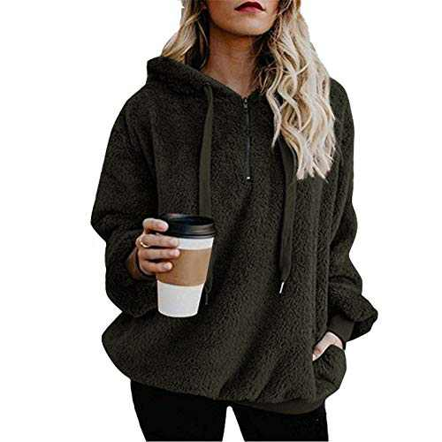 TOPIA STAR Womens Oversized Sherpa Pullover Hoodie with Pockets Fuzzy Fleece Sweatshirt Fluffy Coat (Army Green, L)
