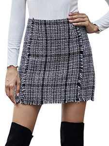SOLY HUX Women's Plaid High Waist Raw Hem Tweed Mini Skirt Grey L