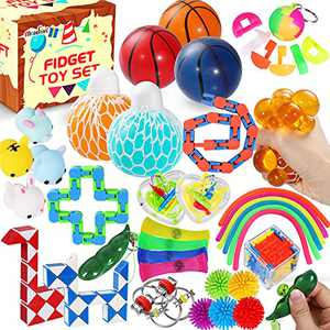 Max Fun 36 Pack Sensory Fidget Toys Set Bundle Stress Relief Anti-Anxiety Tools Toys for Kids Adult Children Figetget Toys Set Autistic ADHD Fidgets Box, Squeeze Ball Bean Marble Mesh Wacky Track