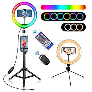 """10"""" RGB Ring Light, Misiki Selfie Ring Light with Tripod Stands & Phone/Tablet Holders, 20 Colors LED Light, 10 Brightness Levels, 2 Wireless Remote for YouTube/Live Stream/Photography"""