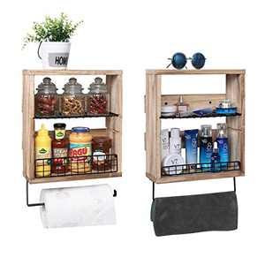 X-cosrack 3 Tier Rustic Wall Storage Shelf Organizer with Towel Bar Paper Rack 2 Pack- Floating Shelf with 2 Removable Wire Shelf+2 Wire Fence for Bathroom Kitchen Living Room, Wood Hanging Mounted
