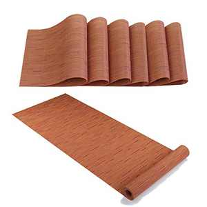"""IMIYOKU Placemats with Compatible Table Runner Crossweave Insulation Placemat Washable Table Mats Set(6pcs 12""""x18"""" + 1pcs 12""""x71"""",Bamboo Orange)"""