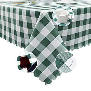 """Lamberia Vinyl Tablecloths for Rectangle Tables 60"""" x 102"""", Durable Spill Stain Proof Table Cover for Kitchen Dining & Kitchen Table, Indoor & Outdoor Use (Green Teal, 60"""" x 102"""")"""