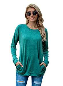 JTJFIT Long Sleeve T-Shirt for Women Casual Loose Fit Tunic Blouses Crew Neck Pocket Top(M-Green)