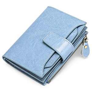 GOIACII Small Women Wallet Genuine Leather RFID Blocking Bifold Zipper Pocket Card Holder with ID Window