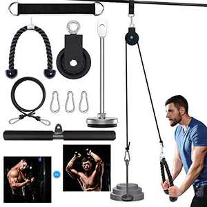 AAWINY Fitness LAT and Lift Pulley System,Forearm Wrist Strength Trainer for Triceps Pull Down, Biceps Curl, Back, Forearm, Shoulder, Home Gym Equipment