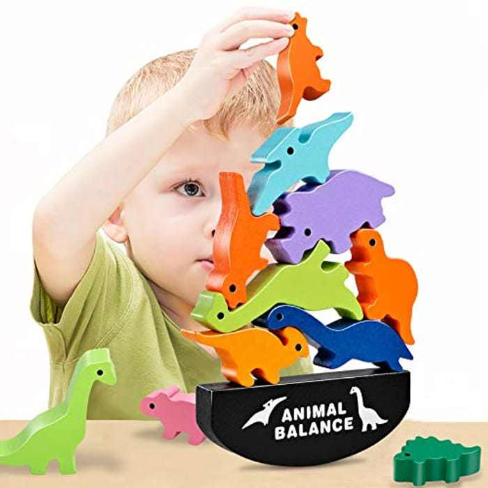 GIFT4KIDS Dinosaur Building Blocks, Wooden Animal Shaped Balance Stacking Toys, Educational Toys and Best Christmas, Birthday Gifts for Kids