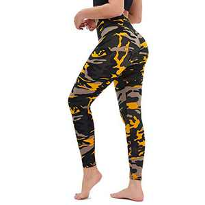 TNNZEET High Waisted Printed Leggings for Women - Buttery Soft Pattern Ankle Pants for Yoga Workout Daily Regular & Plus Yellow Camouflage