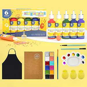 Kids Paint, Finger Paint for toddlers non toxic washable and Bath Bombs for Kids, Toddler finger paint Set with face painting kits for kids, Fingerpaint Paper, Gifts for Kids